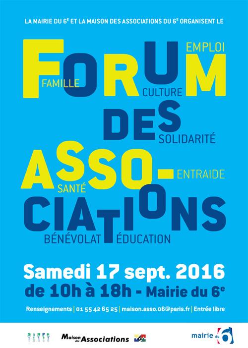 Affiche forum des associations du 6ème Samedi 17 septembre 2016