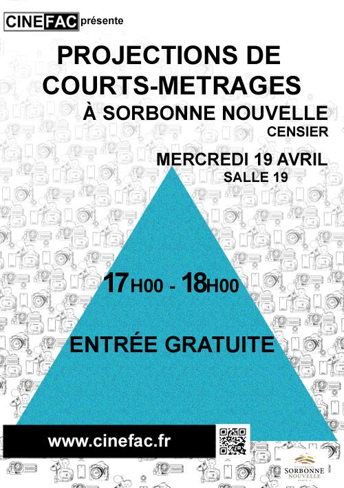 Affiche projection Nouveaux Cinémas à Censier, Université Sorbonne Nouvelle Paris 3, mercredi 19 avril 2017