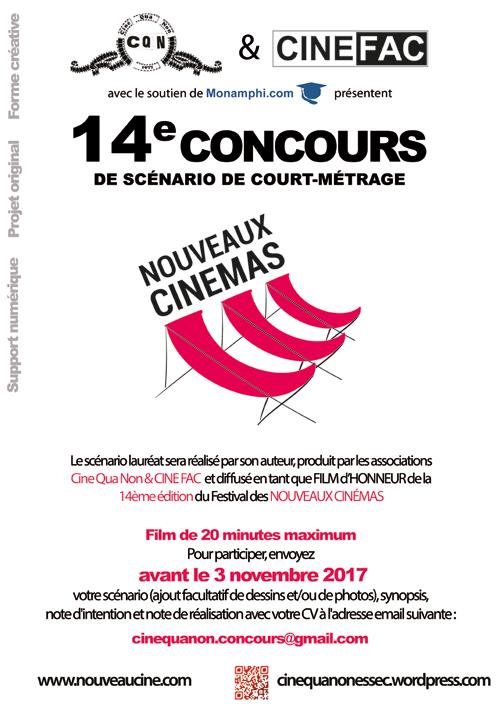Affiche 14ème Concours de Scénario Nouveaux Cinémas