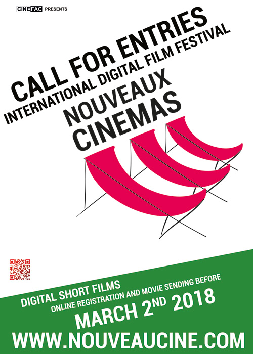 Poster Call For Entries 14th Nouveaux Cinemas Film Festival 2018, in Paris